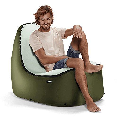 TRONO Aufblasbarer Loungesessel Sitzsack Camping Outdoor Stuhl Luftsessel Sofa grün