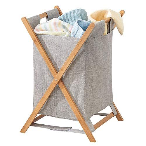 MetroDecor mDesign Cesto Plegable para Ropa Sucia – Bolsa para la Colada portátil – Mueble con cesto para Ropa Sucia extraíble – Organizador de baño de bambú y poliéster – Color bambú