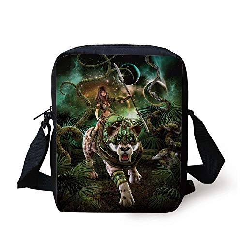 Fantasy World,Graphics of Fantasy Scene with Girl and Saber Tooth Tiger Magical Plants Galaxy,Green Print Kids Crossbody Messenger Bag Purse