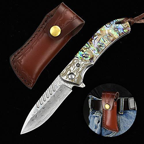 NedFoss Fox Damast Taschenmesser Klappmesser Damaststahl Messer Outdoor Damastmesser Folder Knife 7cm Klinge (Farbiges Harz)