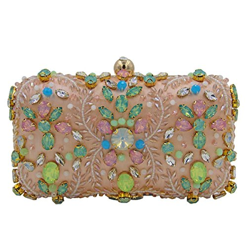 Frauen-Diamant-Handgefertigte Perlen Abendtasche Gem Handtasche Pink