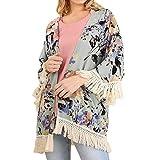 Amphia - Damen-Print mit Sieben Punkten und Ärmeln aus Kimono-Jacke mit Quaste und Quaste - Womens 3/4-Ärmel Floral bedruckter Schal Quaste Kimono Cover Up Cardigan