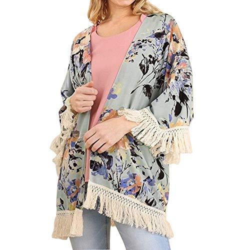 Amphia - Damen-Print mit Sieben Punkten und Ärmeln aus Kimono-Jacke mit Quaste und Quaste - Womens 3/4-Ärmel Floral bedruckter Schal Quaste Kimono Cover Up ()