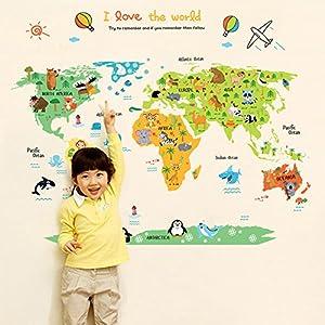 Wallpark Dibujos animados Animales Mapa del mundo Desmontable Pegatinas de Pared Etiqueta de la Pared, Bebé Niños Hogar Infantiles Dormitorio Vivero DIY Decorativas Adhesivo Arte Murales