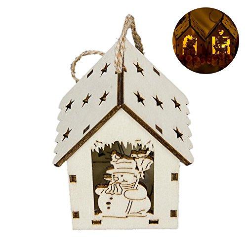 (Set von 2 Weihnachten zum aufhängen Ornaments LED-Light Up Holz Kabine Haus Weihnachten Baum Anhänger für Weihnachten Home Dekoration)