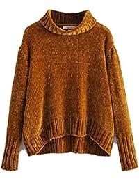 f90557030185 Oudan Frauen Pullover Elegant Winter Pullover Herbst High Neck in Chenille ( Farbe   Gelb,