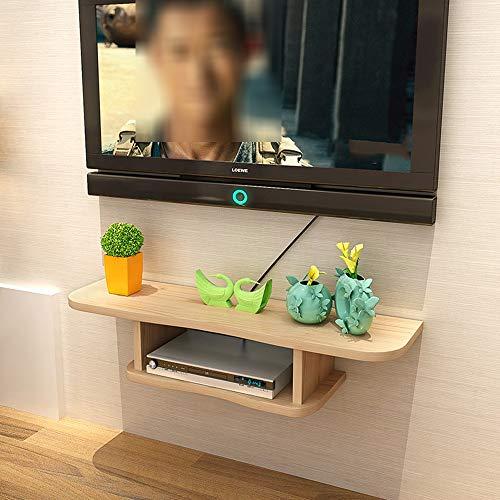Étagère à livres YNN Set-Top Box Rack Salon Chambre Mural TV Fond Armoire Murale Cloison Routeur Stockage sans Perforation (Couleur : Light Walnut, Taille : 80 * 22 * 18cm)