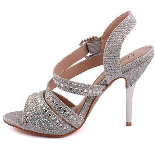 Unze Femmes Samie Diamante Embellis Strappy Haut Talon Aiguille Soirée Soirée Carnaval Rejoindre Brunch Mariage Talon Sandales Court Chaussures Taille 3-8 Argent