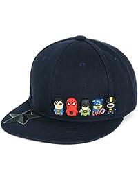 ililily Baseballkappe: Superhelden abgebildet im niedlicher Still, realisiert im Gummidruck, New Era Style, Snapback, Baseball Cap
