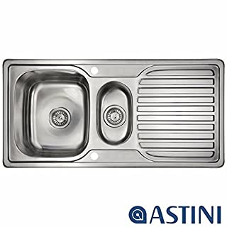 Astini Velia 1.5 Bowl Brushed Stainless Steel Kitchen Sink & Waste AS1360