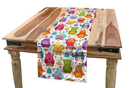 ABAKUHAUS Ausländer Tischläufer, Mutant Monster Eidechsen, Esszimmer Küche Rechteckiger Dekorativer Tischläufer, 40 x 180 cm, Mehrfarbig
