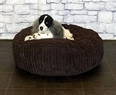 "Zippy Round Bean Bag Pet Dog Bed - 30"" diameter - Brown Jumbo Cord Fabric - Beanbags"