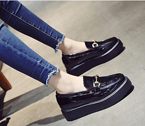 kphy-autumn New spugna torta spessore singolo scarpe versione coreana femminile dell Wild Paint piccola in pelle scarpe in pelle scarpe scarpe studente, Thirty-six Thirty-four