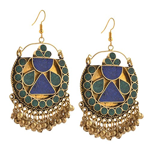 Zephyrr Jewellery German Silver Afghani Beaded Hook Dangler Earrings for Women
