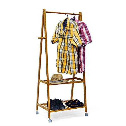 Relaxdays Kleiderständer Bambus HxBxT: 154x73,5x45 cm rollbarer Garderobenständer mit Kleiderstange aus Bambus mit 2 Ablageflächen und Rollen zum Feststellen als Schuhablage für Flur und Diele, natur