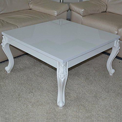 Euro Tische Couchtisch 80 x 80 x 44 cm, Weiß lackiert Hochglanz, Wohnzimmer-Tisch Sofatisch...