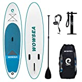 Aufblasbares Stand Up Paddle Board Set - WOWSEA AN5 inflatable SUP paddling board für Anfänger, 305cm, 15cm Dicke, Bis 150kg, Superior Stabilität, mit 3-teiliges Aluminiumpaddel, Große Rucksack, duale Pumpe, Reparatur-Set, Leash. Ideal zum Paddeln, Surfen, Yoga, Touring usw.