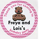 """Fluffy Teddy Bear Design""""Thank you for coming."""" Stickers - PERSONALISED A4 Sheet of 15 x 50mm Round Party Bag Stickers"""