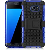 Coque Galaxy S7 Edge Coque incassable | JammyLizard | [ ALLIGATOR ] Coque rigide back cover incassable anti choc coque pour Samsung Galaxy S7 Edge, bleu