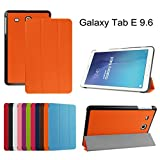 """Ultra Slim Coque Pour Samsung Galaxy Tab E 9.6,Mama Mouth Ultra Slim PU Cuir debout Fonction Housse Coque Étui Couverture pour 9.6"""" Samsung Galaxy Tab E 9.6 T560 T561 Android Tablet, Orange"""
