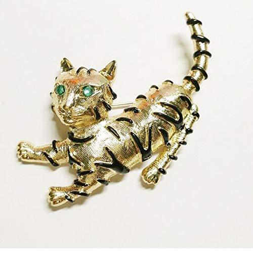 BEOCHT Nette grüne Kristallaugen Katze Broschen für Frauen Kinder Brosche Cartoon Hund Kostüm Vintage Revers - Katze Kostüm Lippenstift