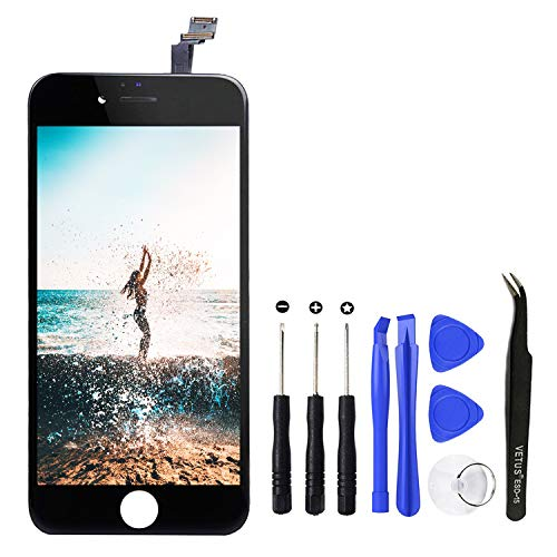 TPEKKA Display Ersatz für iPhone 6 LCD Touchscreen Display Bildschirm-Front Komplettes Glas Panel Digitizer Display mit Reparatur Set Werkzeuge für iPhone 6 Screen Schwarz, 4.7 Zoll Lcd-panel