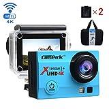 Campark 4K Action Cam WIFI Sport Action Camera Full HD 16MP 170° Grandangolare 2.0 Pollici (Custodia Professionale + Batteria di Ricambio)(Blu) immagine
