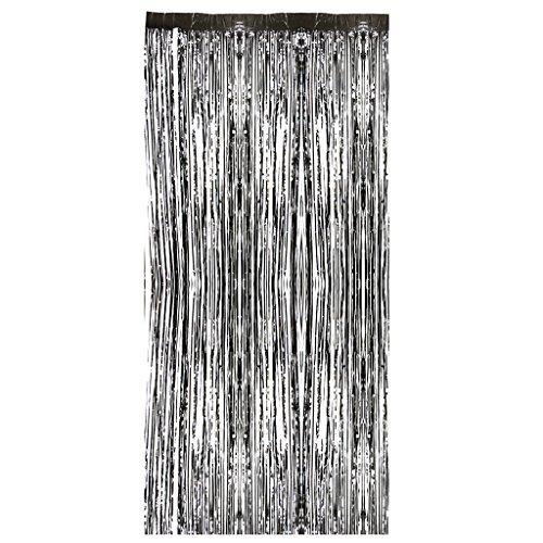MagiDeal Vorhang Schwarz metalic Streifenvorhang Türvorhang Raumdekoration Party Deko - - Halloween-hintergrund Schwarze