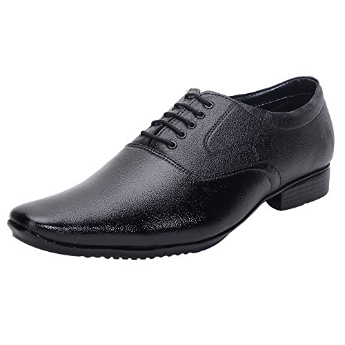 AXONZA Mens Black Lace up Office wear Stylish look 305 Formal shoes (10, BLACK)  available at amazon for Rs.199