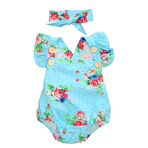 Funoc Romper Suits Baby Girl 0 - 24 Months Cotton Vests with Headband