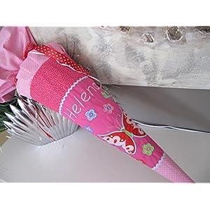 #21 Schmetterling Pink Rosa Schultüte Stoff + Papprohling + als Kissen verwendbar