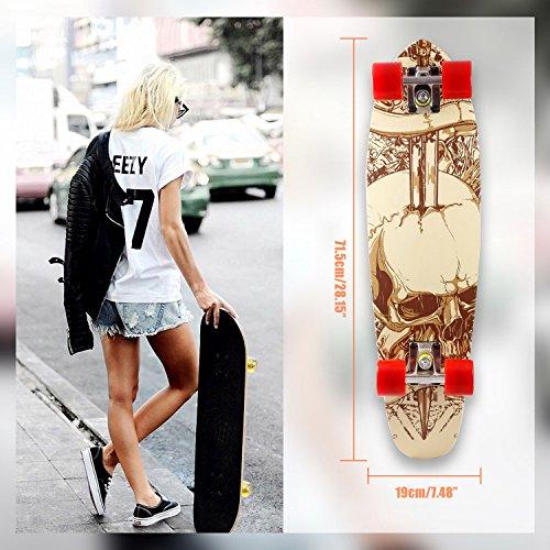 28 Skateboard Komplett (Begorey 28 Zoll Cruiser-Skateboard Komplettes Funboard Draußen Spaß Hölzern Rutschfest für Kinder Erwachsene Plattform Skateboard (3))