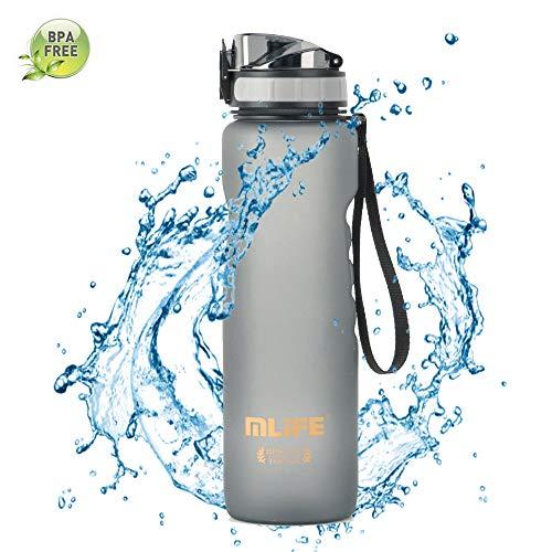 Bottiglia d'Acqua Sportiva 1 Litro Borraccia Senza BPA in Plastica Tritan a Prova di Perdite con Filtro per Scuola, Palestra, all'aperto - Grigio