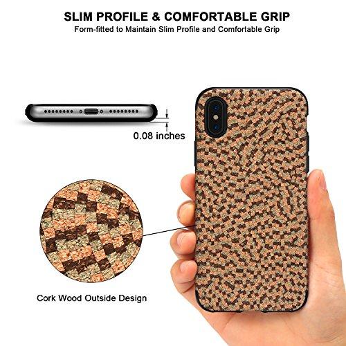 TENDLIN iPhone X Hülle Kork Material außen Design mit TPU Silikon Hybrid guten Grip Slim Case für iPhone X (Dunkle Farbe) Dunkle Farbe