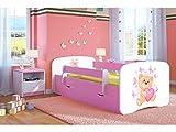 Kocot Kids Kinderbett Jugendbett 70x140 80x160 80x180 Rosa mit Rausfallschutz Matratze Schublade und Lattenrost Kinderbetten für Mädchen - Teddybär mit Schmetterlingen 180 cm