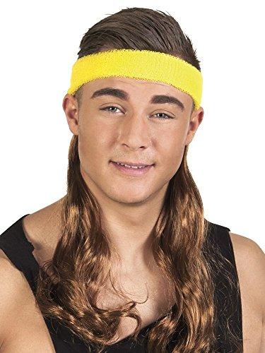 Bad Taste Stirnband mit Haaren Vokuhila Assi Perücke Asi Matte Proll Trash Party, Farbe:Braun