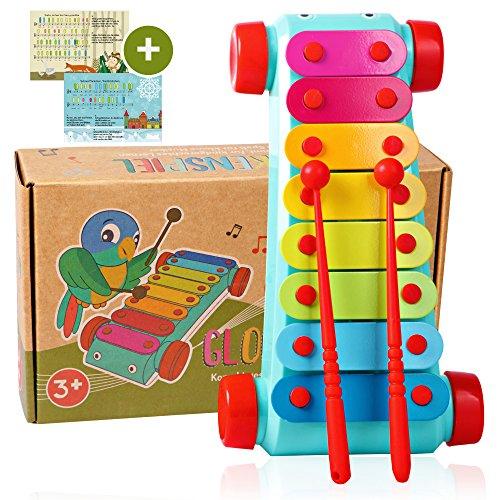 Tabalino® ▪ Xylophon für Kinder ▪ Glockenspiel, Instrument zur musikalischen Früherziehung ▪ inkl. e-Book mit 10 Kinderliedern zum Nachspielen ▪ 2 Schlägel ▪ Geschenk für Mädchen, Junge, Babys