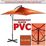 habeig WASSERDICHTER Ampelschirm 2,5m PVC eckig Sonnenschirm Wasserfest Schirm 250 cm (Terrakotta)