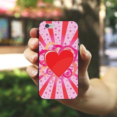 Apple iPhone X Silikon Hülle Case Schutzhülle Herz Muster Bunt Love Explosion Silikon Case schwarz / weiß