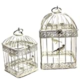 Juego de 2 faroles de alambre Link Products con diseño de jaula de pájaros, color blanco crema.