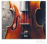 Wallario Herdabdeckplatte/Spitzschutz aus Glas, 1-teilig, 60x52cm, für Ceran- und Induktionsherde, Nahaufnahme einer alten Violine