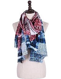 XZP Las mujeres de otoño e invierno cuelgan nueva bufanda de raso estampado geométrico suave borla