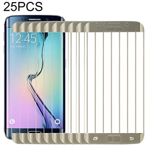 ZXH Für Telefon-Kasten Neue 25 PCS for Galaxy S6 Rand 0.3mm 9H Oberflächenhärte 3D Explosionsgeschützte Färbt Galvanisieren gehärtetes Glas Vollbild-Film (schwarz) (Color : Gold) -
