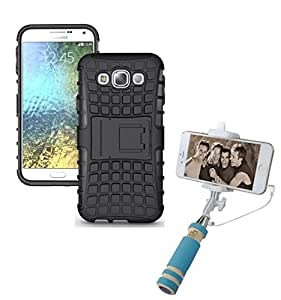 Aart Hard Dual Tough Military Grade Defender Series Bumper back case with Flip Kick Stand for Samsung E5 + Aux Wired Mini Pocket Selfie Stick by Aart store.