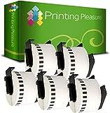 5 x DK22223 Endlos-Etiketten kompatibel für Brother P-Touch QL-500 QL-500A QL-550 QL-560 QL-570 QL-580N QL-650TD QL-700 QL-720NW QL-1050 QL-1060N | 50mm x 30.48m | Thermopapier mit Kunststoffhalter