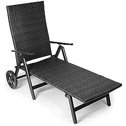Vanage Sonnenliege mit Polyrattan Optik in schwarz - Gartenliege mit 2 Rädern - Liegestuhl ist klappbar - Gartenmöbel - Strandliege aus Aluminium - Relaxliege für den Garten, Terrasse und Balkon
