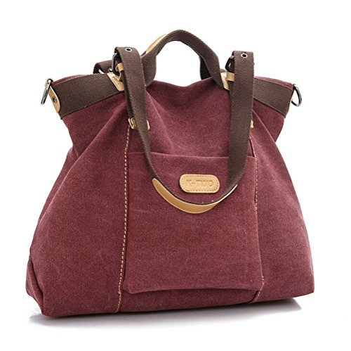Women's Casual Canvas Top - HandBag / Shoulder Bag - Purplish Red