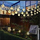Nasharia LED Solar Lichterkette mit LED Kugel 6.5M 30 LEDs 8 Modi IP65 Wasserdicht Warmweiß Lichterkette mit Lichtsensor, Kristallbälle Beleuchtung für Garten Terrasse Hof  Haus Party