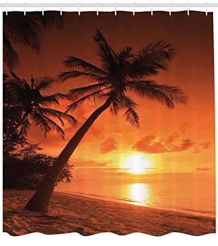 ABAKUHAUS Tropisch Duschvorhang, Twilight Kokosnuss-Palmen, mit 12 Ringe Set Wasserdicht Stielvoll Modern Farbfest und Schimmel Resistent, 175x200 cm, Orange Braun Korallenrot