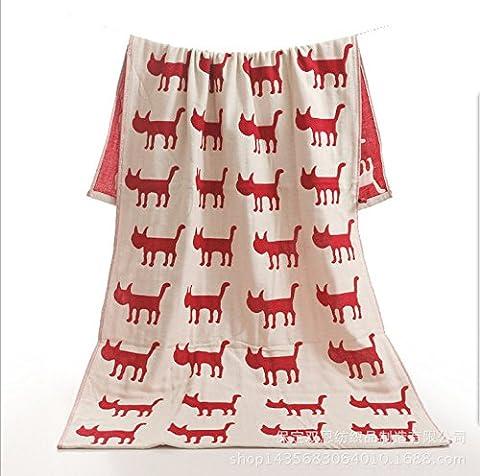 Sproud 70*140 pur coton gaze couche trois grande serviette de bain les enfants adultes Cute Cartoon serviette de bain bébé longue queue rouge Cat